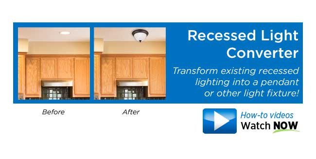 Transform recessed lights - Transform existing recessed lighting into a pendant or other light fixture!
