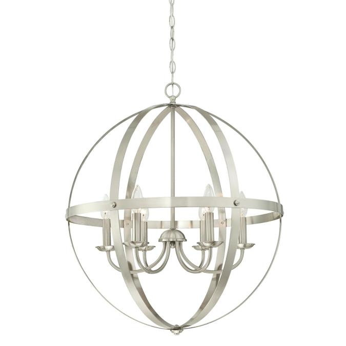 Westinghouse Stella Mira Six Light Indoor Chandelier Brushed Nickel