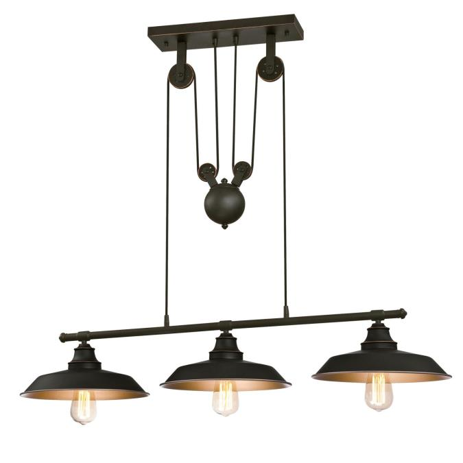 Led Industrial Kitchen Island Light Antique Finish With 3: Westinghouse Iron Hill Three-Light Indoor Island Pulley