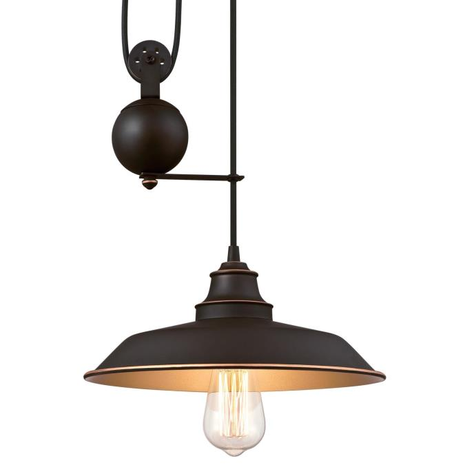 Westinghouse Iron Hill Pendant: Westinghouse Iron Hill One-Light Indoor Pulley Pendant