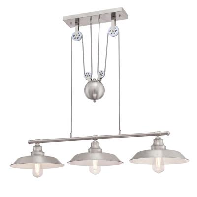Iron Hill Three-Light Indoor Island Pulley Pendant