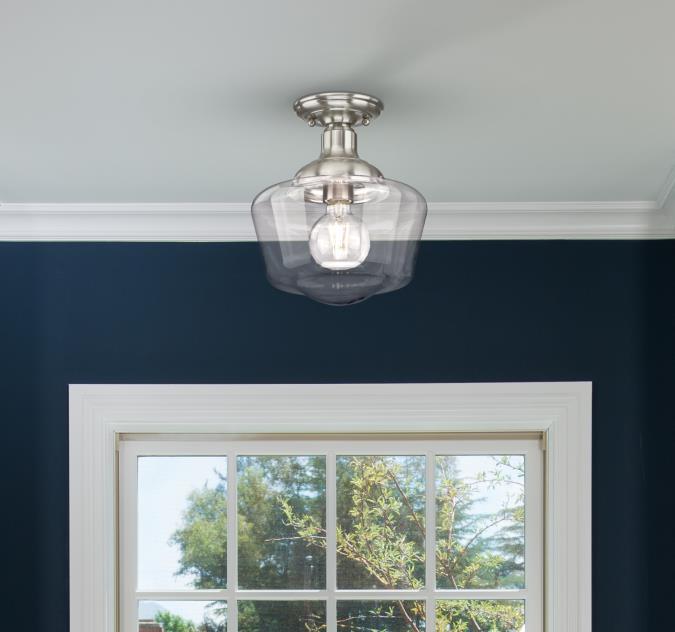 Westinghouse Lighting Scholar 9 Inch One Light Indoor Semi Flush Mount Ceiling Fixture Brushed Nick