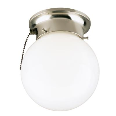 one light indoor flush mount ceiling fixture with pull chain 6720800. Black Bedroom Furniture Sets. Home Design Ideas