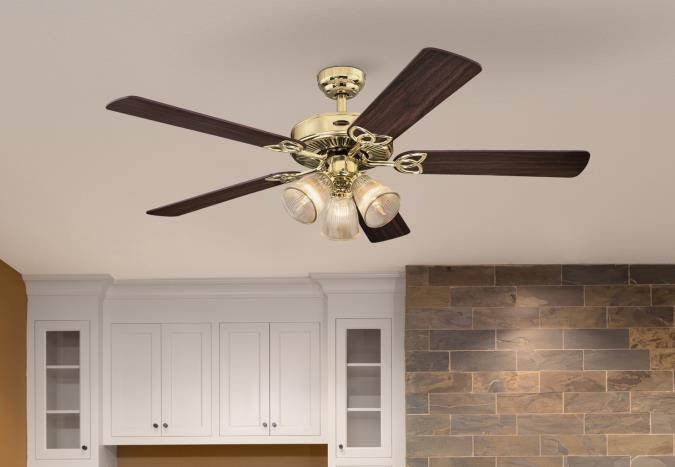 Westinghouse Lighting Vintage 52 Inch Five Blade Indoor Ceiling Fan Polished Brass Finish With Dimm