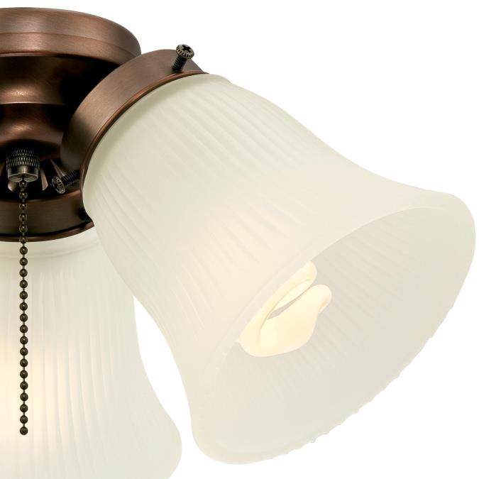 Westinghouse Lighting 7781800 Three-Light Cluster 3-Inch Fitter Ceiling Fan Kit Oil Brushed Bronze with Frosted Ribbed Glass Shades