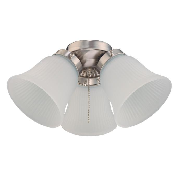 Westinghouse Three Light Led Cluster Ceiling Fan Light Kit Brushed Nickel Finish Frosted Ribbed Gl